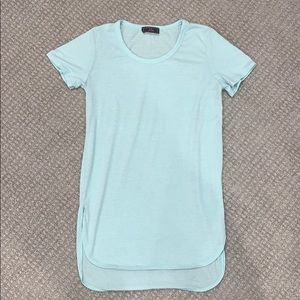 Tilly's Teal Short Sleeve Top with Scoop Bottom